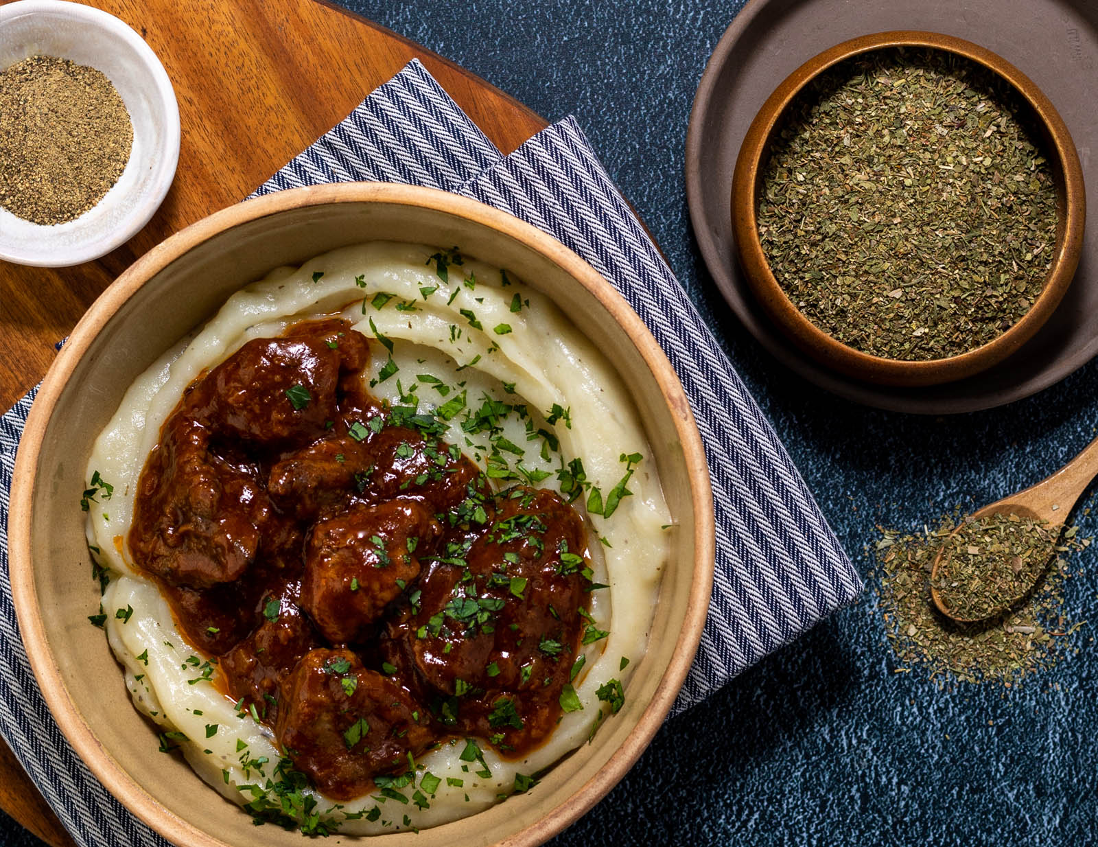 Recipe for BBQ Chicken Livers and herby mash