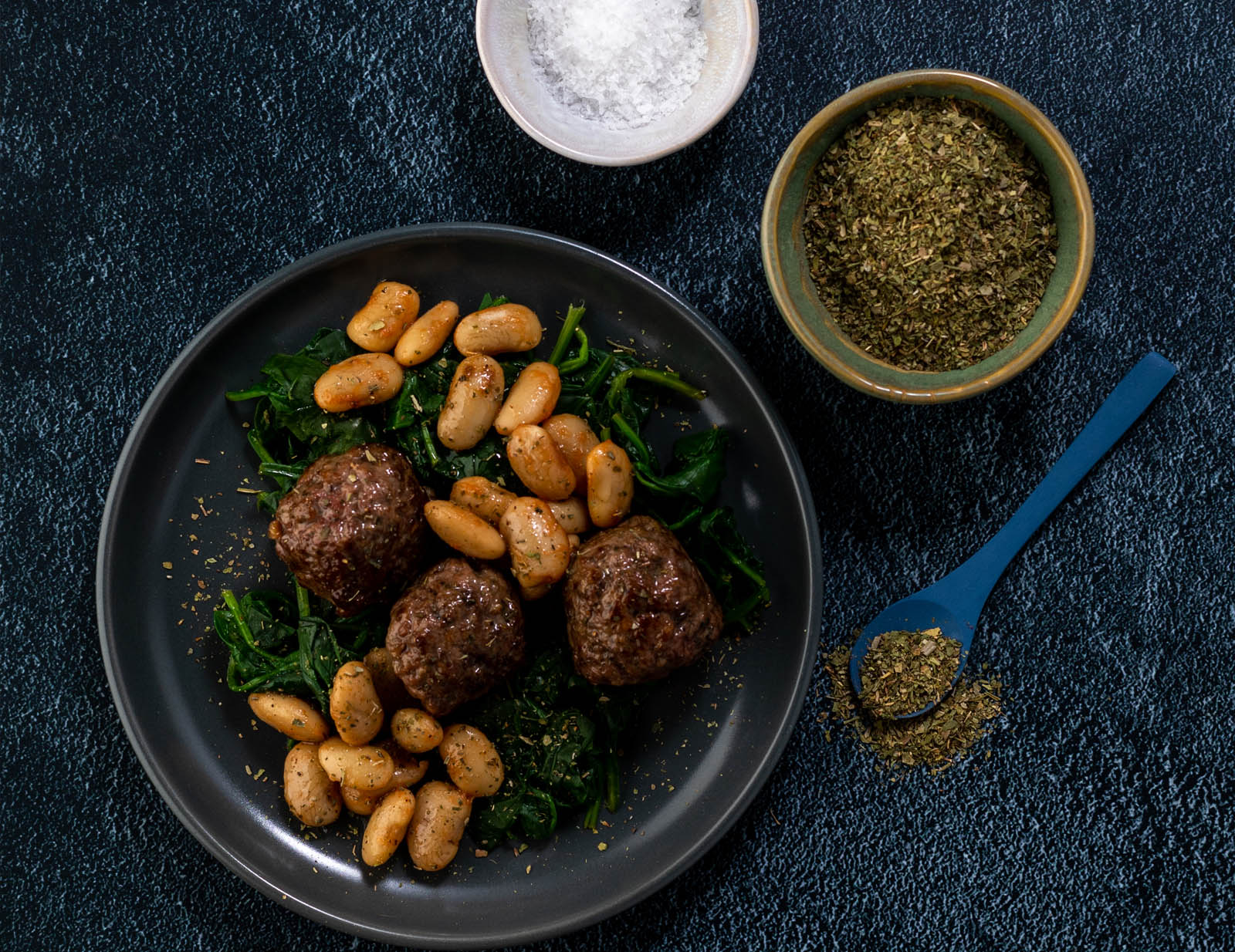 Recipe for BBQ-Lamb-Frikkadels-Butterbeans-and-Spinach