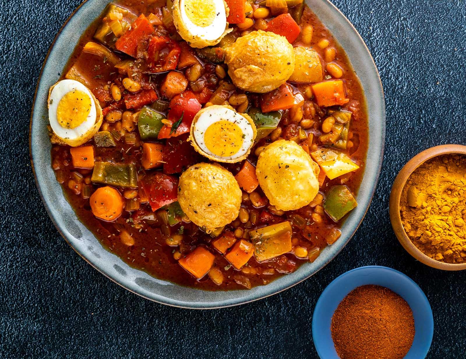 Recipe for Chakalaka and Deep Fried Eggs