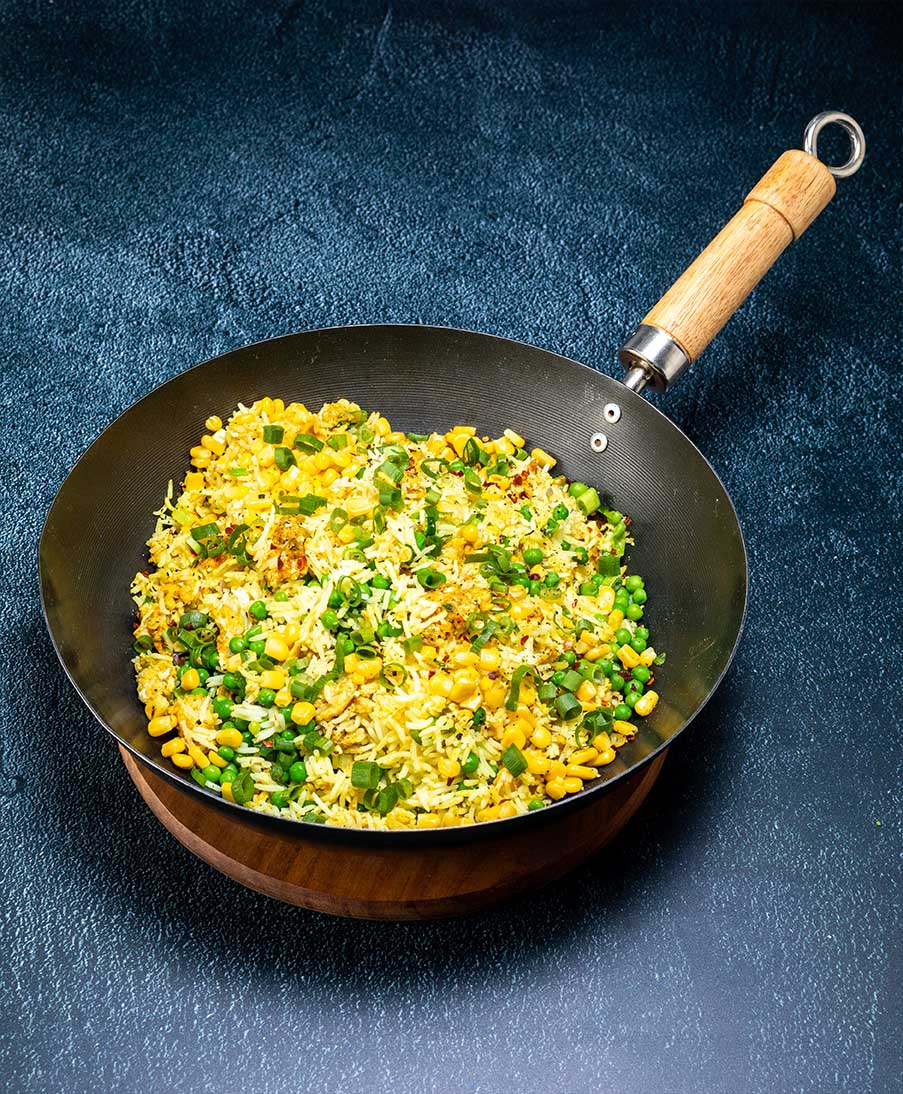 Recipe - Egg fried Rice with Peas and Sweetcorn