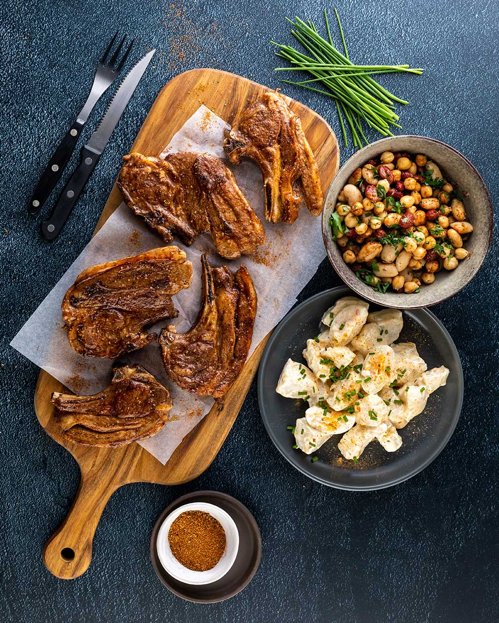 Lamb Chops, Potato salad and Sweet & Sour Beans