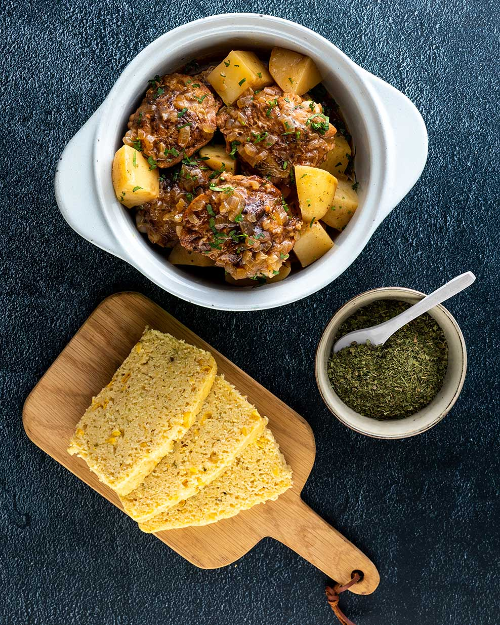 Parsley Mealie Bread with Portuguese Chicken and Bean Stew