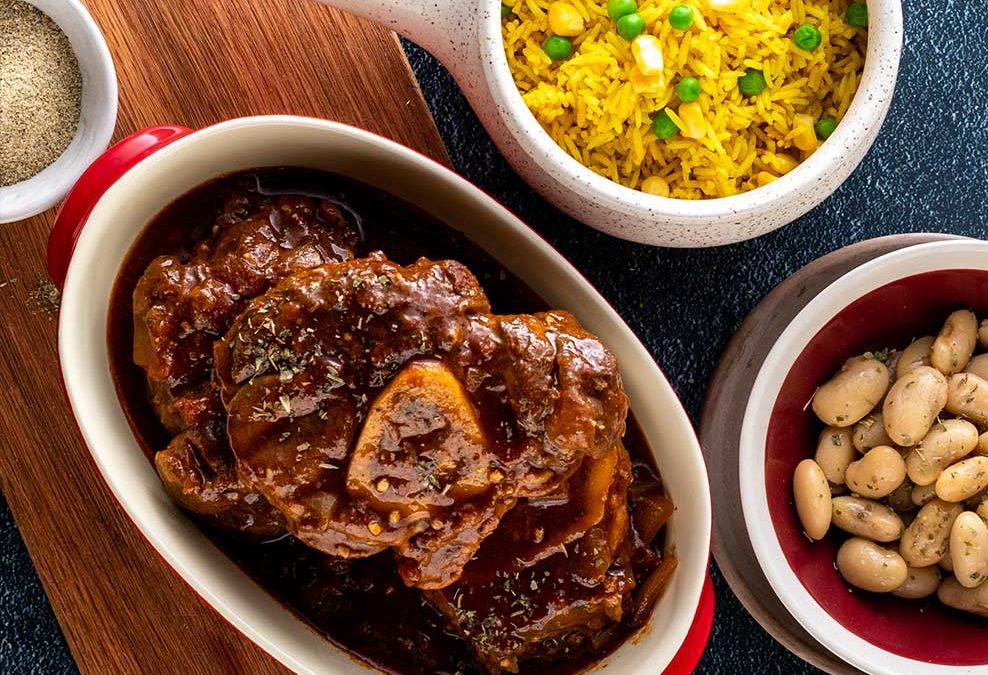 Pepper Beef Stew with beans and Savory Rice Recipe image