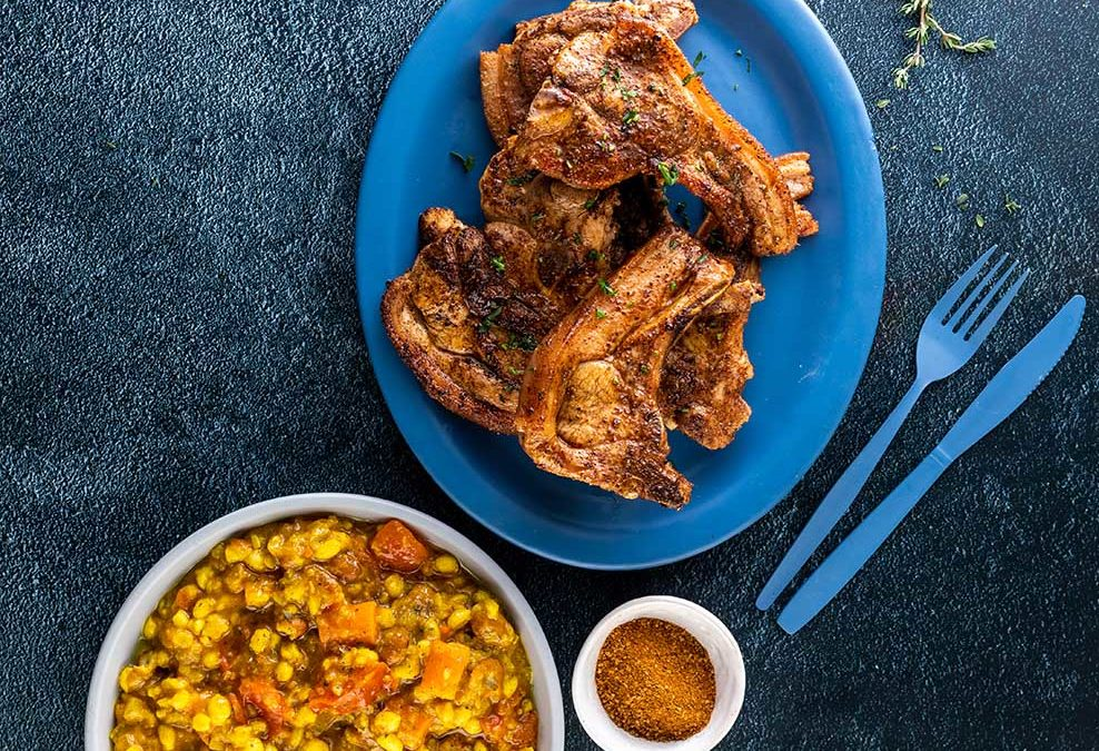 Pepper Pork Chops with Samp and beans Recipe