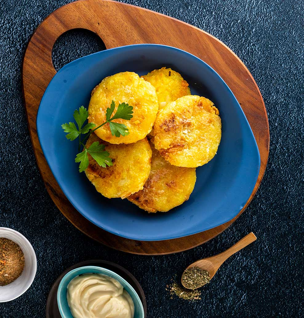 Potato Cakes with Sweetcorn and Cheddar Cheese